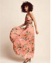 Express Floral Print Strappy Plunge Maxi Dress