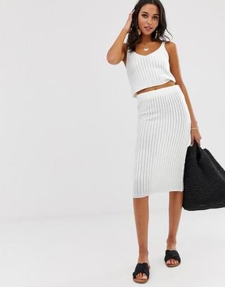 Asos Design DESIGN co-ord textured knit midi skirt-White
