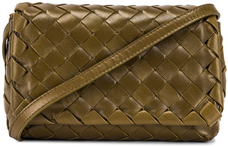 Bottega Veneta Leather Woven Crossbody Bag in Mud & Gold | FWRD