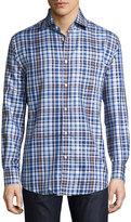 Neiman Marcus Classic-Fit Non-Iron Plaid Sport Shirt, Blue/Brown