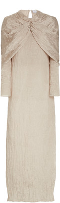 Deveaux Emma Cape-Effect Crinkled Satin Maxi Dress