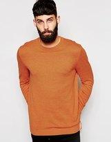 Asos Crew Neck Jumper In Cotton - Orange