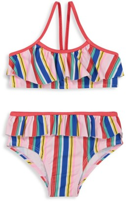 Andy & Evan Little Girl's & Girl's 2-Piece Striped Ruffle Bikini Set