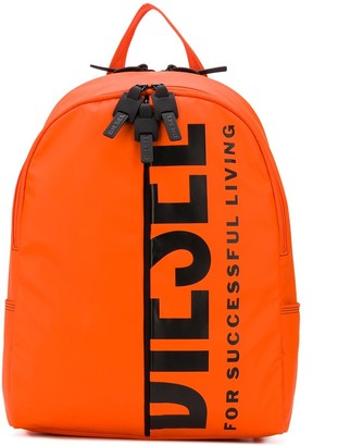 Diesel Logo-Print Rubberised Backpack
