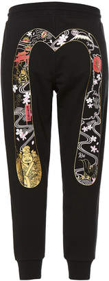 Evisu Sweatpants With Godhead Daicock Foil Print