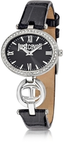 Just Cavalli Just Icon Silver Stainless Steel w/Black Croco Embossed Patent Leather Women's Watch