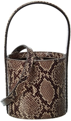 STAUD Snake-Embossed Leather Shoulder Bag