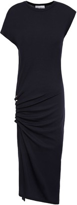 Paco Rabanne Asymmetric Studded Ruched Wool-blend Dress