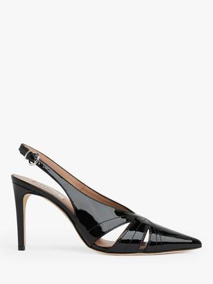 LK Bennett Helena Patent Pointed Toe Court Shoes, Black