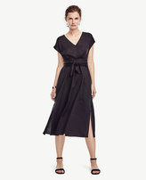 Ann Taylor Belted Cap Sleeve Dress