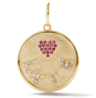 As 29 18kt yellow gold diamond and ruby Love round tag pendant