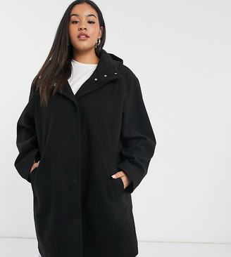 ASOS DESIGN Curve textured hood coat in black