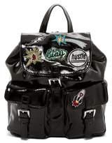 Steve Madden Patent Patchwork Backpack
