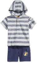 First Impressions Baby Boys' 2-Pc. Striped Henley Hoodie & Shorts Set, Only at Macy's