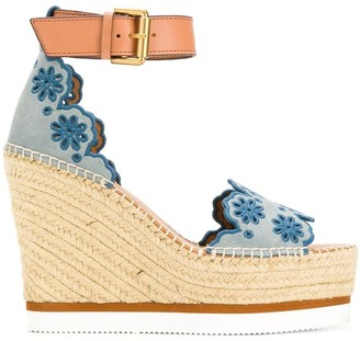 See by Chloe embroidered wedges