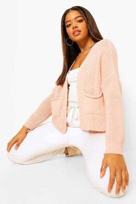 boohoo Petite Knit Pocket Detail Boyfriend Cardigan