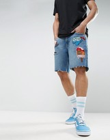 Asos X Lot Stock & Barrel Denim Shorts In Slim Mid Blue With Embroidery