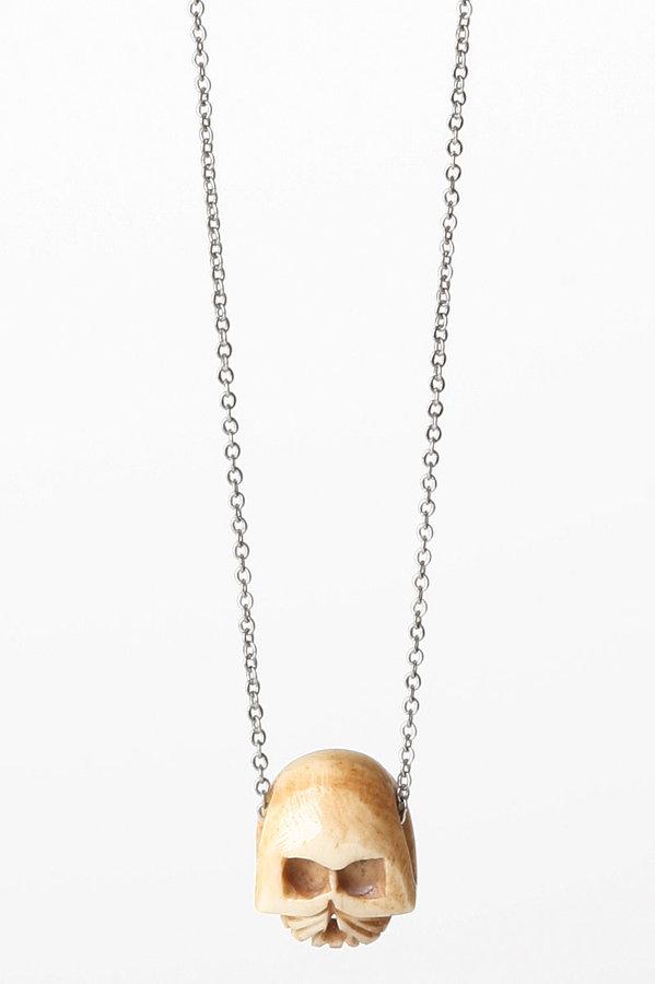 Castaway Jewelry Bone Tribal Skull Necklace in Silver