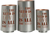 Studio Nova Set of 3 All You Need Is Love Metal Luminaries