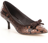 Donald J Pliner Ginni Snake Print Bow Detail Pointed-Toe Slip On Pumps