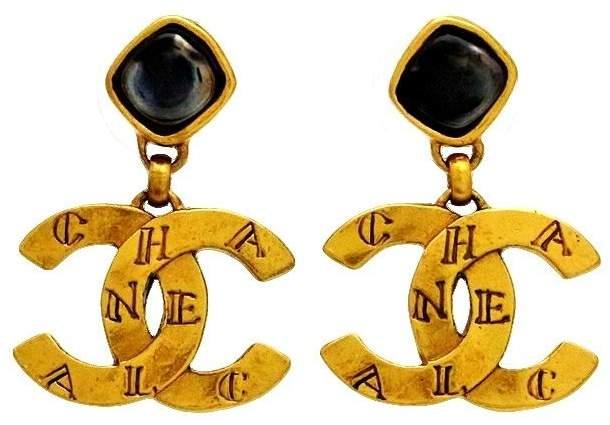 Chanel Gold Tone Metal Black Stone CC Logo Dangle Stud Earrings