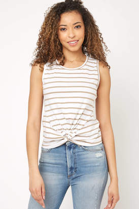 Neely Stripe Knot Front Tank Top Taupe S