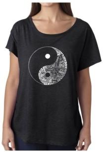 Yin & Yang La Pop Art Women's Dolman Cut Word Art Shirt - Yin Yang