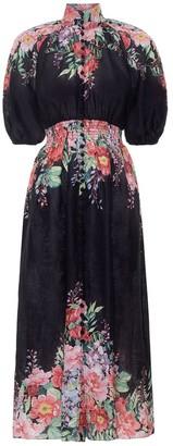 Zimmermann Bellitude Shirred Waist Dress in Dark Navy Floral