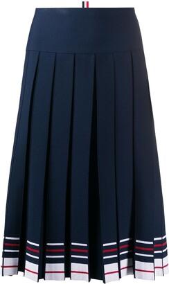 Thom Browne Box-Pleat Knee-Length Skirt