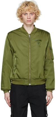 Moschino Green Double Question Mark Bomber Jacket