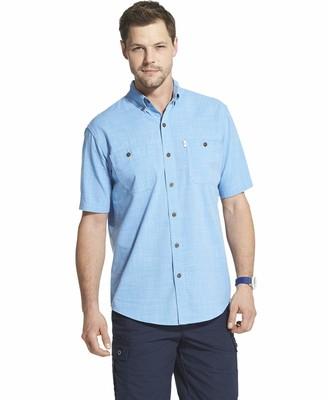 G.H. Bass & Co. Men's Big Crosshatch Short Sleeve Button Down Solid Shirt
