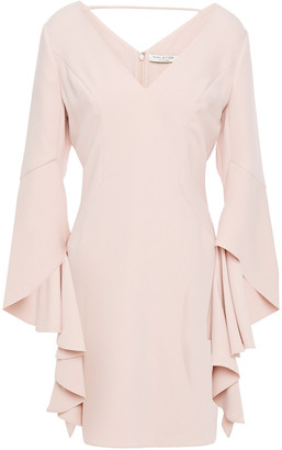 Halston Cutout Draped Crepe Mini Dress