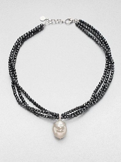 Majorica 18MM Baroque Pearl and Hematite Bead Necklace