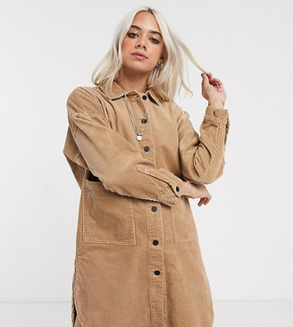 Only Petite cord oversized shirt dress in beige