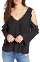 Lush Women's Cold Shoulder Ruffle Top