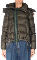 Sacai Quilted Puffer Coat w/Faux-Fur Trim, Khaki