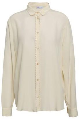 RED Valentino Scallop-trimmed Silk Crepe De Chine Shirt