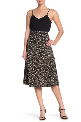GOOD LUCK GEM Printed Side Button Midi Skirt