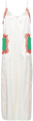 Tory Burch Appliqued Lace-trimmed Silk-satin Midi Dress
