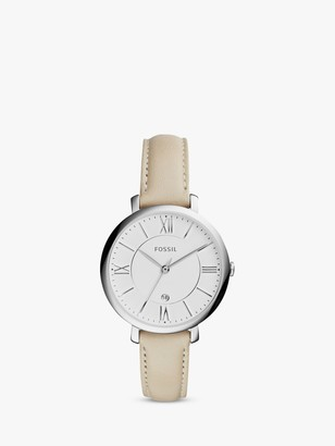 Fossil Women's Jacqueline Date Leather Strap Watch