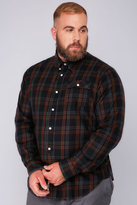 Yours Clothing D555 Black & Red Checked Long Sleeved Shirt -TALL