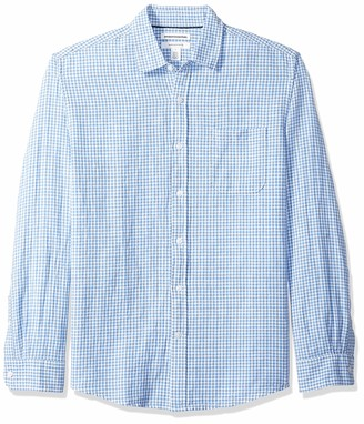 Amazon Essentials Men's Regular-Fit Long-Sleeve Gingham Linen Shirt