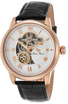 Lucien Piccard 12524-RG-02 Men's Optima Automatic Black Genuine Leather White
