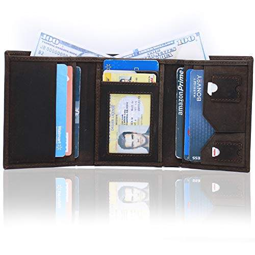 472f3be1aa RFID Leather Trifold Wallets for Men