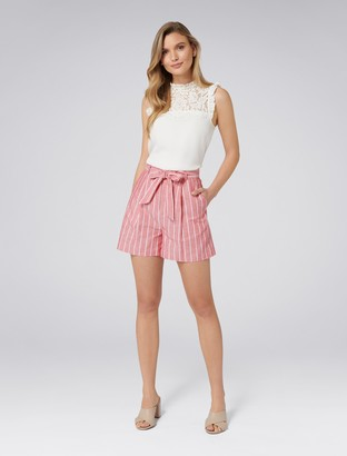Forever New Polly Co-ord Paper Bag Shorts - Red Stripe - 16