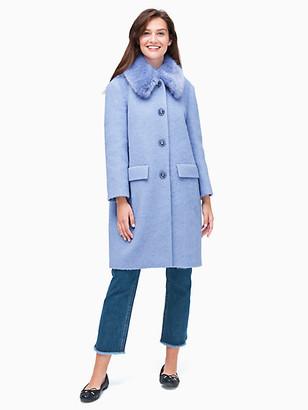 Kate Spade Wild Ones Faux Fur Trim Coat