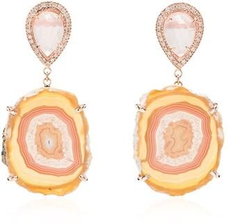 Jacquie Aiche 14kt gold Agate quartz teardrop earrings