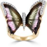 La Vita Vital 8 CT TW Tourmaline and Diamond 14K Rose Gold Butterfly Ring