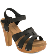 Pierre Dumas Black Triple-Strap Riply Sandal
