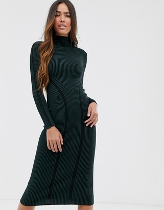 French Connection long collumn knited bodycon midi dress-Green